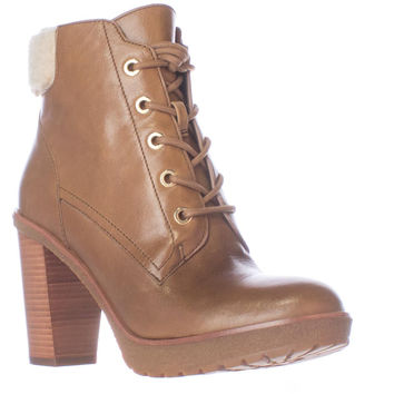 MICHAEL Michael Kors Kim Lace Up Booties - Dark Caramel