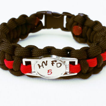 Custom Thin Red Line Paracord Bracelet - Thin Red Line Bracelet - Emergency Survival Bracelet - Firefighter Support Bracelet - 550 Paracord
