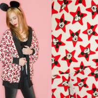 Vintage 80s Mickey Mouse Cocoon Cardigan Disney Rare Sweater Novelty Pop Art Star Black White Red One Size OOAK