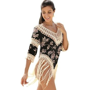 Cover ups Bikini Women V-neck Short sleeve Summer Sexy  Hollow loose fringe hook cover smock handed braid floral cotton covers KO_13_1
