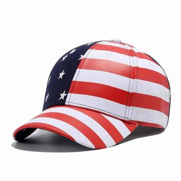 6 Panel USA American Flag Snapback, Trucker Hats Star White Red Striped Men's Women Hip Hop Patriotic Dad Baseball Cap