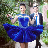 Appliqued Royal Blue Homecoming 8th grade prom Dresses 2016 Beaded Long Sleeve Jewel modest Graduation cocktail Dress Short