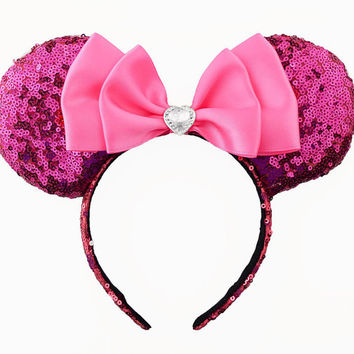Minnie Mouse Ears Sequin Disney Ears Pink Sequin Minnie Mouse Bow Sequin Minnie Ears Fuchsia Minnie Bow Sequin Mickey Mouse Ears Mickey Ears