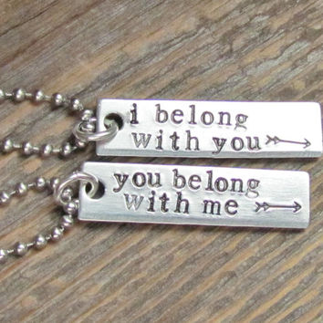 Set of 2 Necklaces I Belong With You Hand Stamped Jewelry Couples Charm Aluminum Tag Stainless Steel Chain