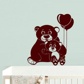 Wall Decal Vinyl Decal Sticker Dog Nursery Kids Baby Bear Air Balloons Cartoon z594