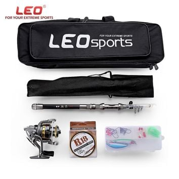 LEO 1.5 / 1.8 / 2.1 / 2.4M Telescopic Fishing Rod Reel Combo Full Kit Spinning Reel Pole Set with Fish Line Lures Hooks Bag Case