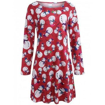 Snowman Patterned Xmas Swing Long Sleeve Dress - Red S