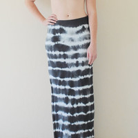 SAMPLE SALE - Tie Dyed Boho Chic Maxi Skirt w/ Side Slit in Stretch Knit Cotton Size XS/S - Bohemian Extra Long Maxi - Ready to Ship