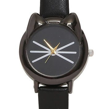 Blackheart Black Cat Face Watch