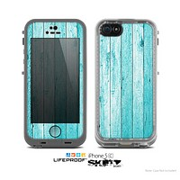 The Blue Abstract Wood Planks Skin for the Apple iPhone 5c LifeProof Case