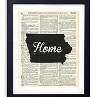 Iowa Home Script Upcycled Vintage Dictionary Art Print 8x10