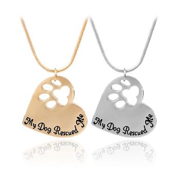 Pet Memorial Jewelry My Dog Rescued Me Engraved Pet Paw Print Pet