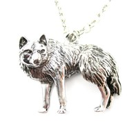 Realistic Wolf Fox Shaped Animal Pendant Necklace in Silver | Animal Jewelry