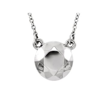 Faceted 9mm Circle Necklace in 14k White Gold, 16.5 Inch