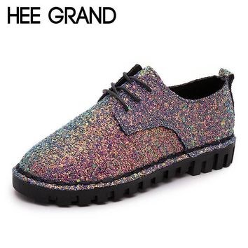 HEE GRAND Bling Gitter Creepers Platform Oxfords Shoes Woman 2017 Lace-Up Flats Fashio