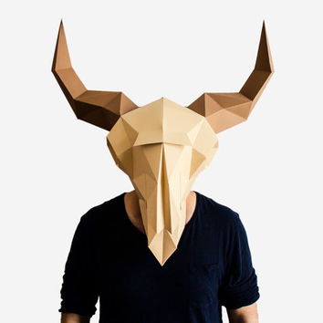 Make your own Bison Skull, Animal Head, Instant Pdf download, DIY Bison Mask, Paper Mask, 3D Pattern, Animal Skull, Polygon Masks