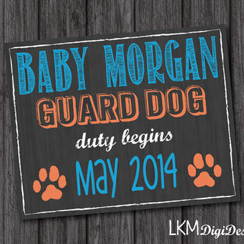 Guard Dog Pregnancy Announcement, Chalkboard Guard Dog, Guard Dog Duty, Baby Announcement