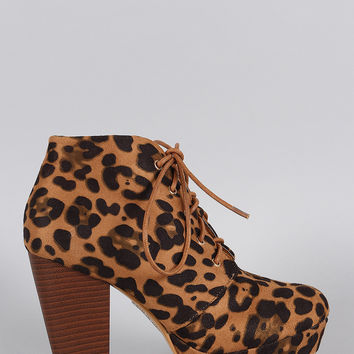 Leopard Refined Lace Up Stacked Bootie