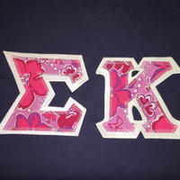 Sigma Kappa Lilly Pulitzer Sorority Prints Greek LETTERED tshirt sorority LAST ONE
