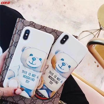 Blue Light  cute love lovely teddy bear soft gel Smooth tpu case for iphone 6 6s 6 s 6plus 7 8 plus X phone cases cover