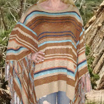 Mexican Blanket Poncho Boho Sweater With Fringe Brown Tan And Turquoise In Sizes XS - Small Or Medium - Large