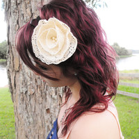 Ivory Lace Rose Headband with Pearl Accents by RosetteBelles