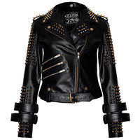 Gold Metal Leather Jacket [B]