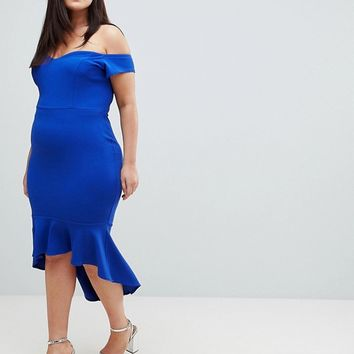 John Zack Plus Off Shoulder Ruffle Midi Dress at asos.com