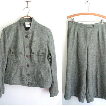 gaucho pant suit, military style jacket, green grey tweed pantsuit, vintage 70s 80s, women 10, Company Collection
