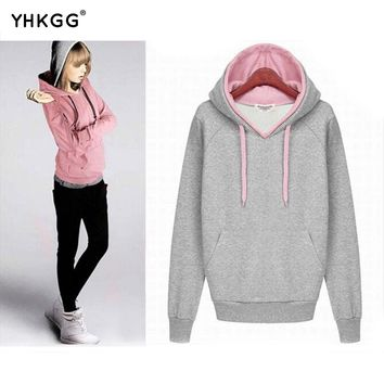 2017 YHKGG women fall winter hoodie casual long sleeved pullover hoodie women's double free tops women's clothing new