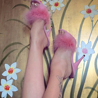 VIP 5 inch Handmade Baby Pink Marabou Boa Slippers High Heel Sandals Woman Shoes (Other Platform Heights Available!)