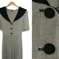 Vintage Maxi Dress~Size Small, Medium, Large~30s 40s 50s Style Black Beige Checkered Houndstooth Tie Collar Button Dress~By J.B.S. Limited