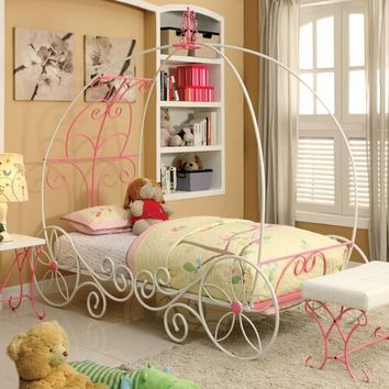 Enchant collection pink and white finish Full size metal frame princess carriage style canopy bed frame