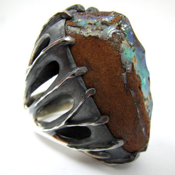 Silver Opal Ring, Men's Opal Rings, Mexican Fire Opal, Cantera Opal