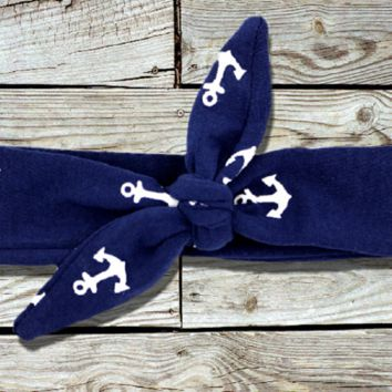 Little Navy Nautical Anchor Knotted Headband