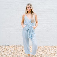 Hannah Jumpsuit- Sky Blue - These Three Boutique