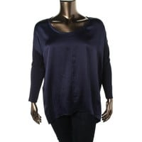 The Fisher Project Womens Silk Boatneck Blouse