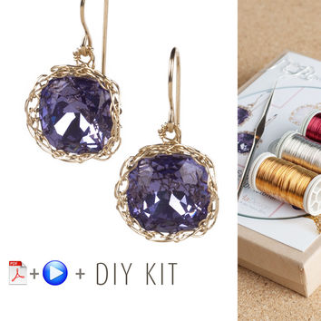 DIY Vintage Earrings Kit, DIY jewelry , Tools and Supply , ISK starter , Video Tutorial, Swarovski dangle earrings