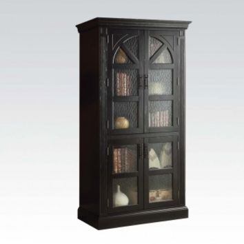 Acme 90220 Rica collection weathered black finish wood glass front curio china cabinet