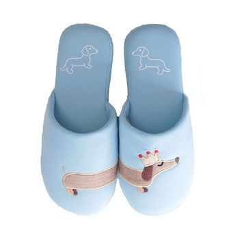 Millffy Women's unicorn slipper Fuzzy Pink and light blue dog plush cotton Slippers slip on Dachshund plush slippers
