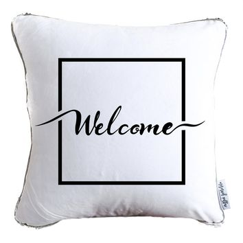 Welcome Typography Decorative Throw Velvet Pillow w/ Silver & White Reversible Sequins   COVER ONLY (Inserts Sold Separately)