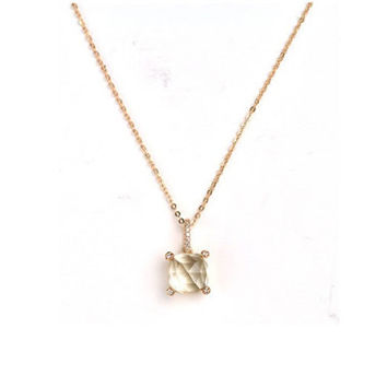 Green amethyst gold necklace