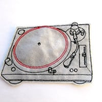 Iron On Patch Turntable Applique in Gray