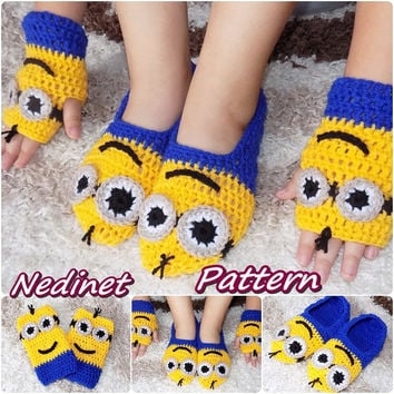 Crochet Minion slippers, Minion mittens, INSTANT DOWNLOAD pattern, Baby to Adult size