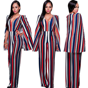 Red Stripe Cape Detail Jumpsuits