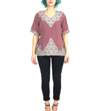 Vintage Indian Beaded Blouse Ethnic Silver Metallic Embroidered Hippie Boho Festival Sari Crop Top Mauve Purple Short Sleeve Shirt (M/L)