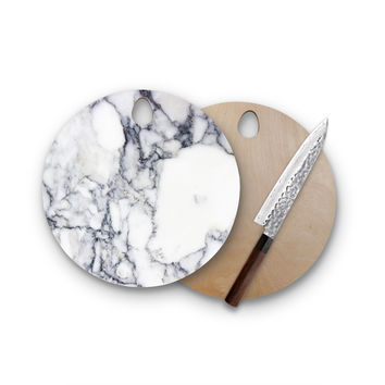 Charcoal Faux Silver Marble Round Wood Cutting Board Trendy Unique Home Decor Cheese Board