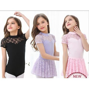 Ballet Dancing Sleeveless Lace Leotard with Skirt