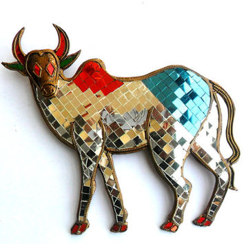 "Mosaic Bull Ox Glass Art Multicolor Handmade Mirror Mosaics Art Home Decor Handcrafted Hand Wood Carved Wood Gift 10""x9"""