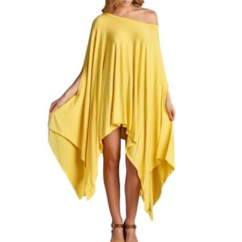 Women's Awesome Yellow Off the Shoulder Asymmetrical Hem Cape Poncho NEW COLORS!